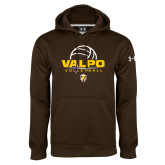 Under Armour Brown Performance Sweats Team Hoodie-Stacked Volleyball Design