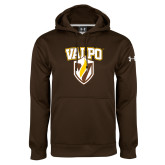 Under Armour Brown Performance Sweats Team Hoodie-Stacked Valpo Shield