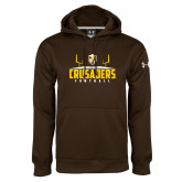 Under Armour Brown Performance Sweats Team Hoodie-Football Field Design