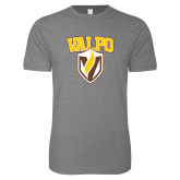 Next Level SoftStyle Heather Grey T Shirt-Stacked Valpo Shield