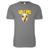 Next Level SoftStyle Heather Grey T Shirt-Stacked Valpo Shield