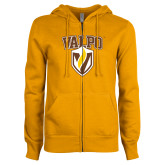 ENZA Ladies Gold Fleece Full Zip Hoodie-Stacked Valpo Shield