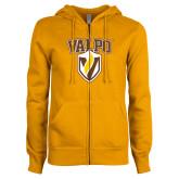 ENZA Ladies Gold Fleece Full Zip Hoodie-Stacked Valpo Shield