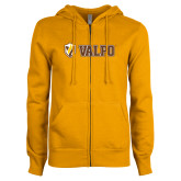 ENZA Ladies Gold Fleece Full Zip Hoodie-Flat Valpo Shield