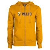 ENZA Ladies Gold Fleece Full Zip Hoodie-Flat Valpo Shield