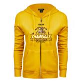 ENZA Ladies Gold Fleece Full Zip Hoodie-2017 Mens Basketball Champions Basketball Ribbon