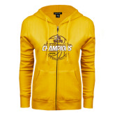 ENZA Ladies Gold Fleece Full Zip Hoodie-2017 Mens Basketball Champions Basketball