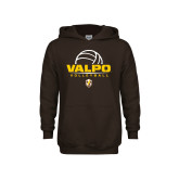 Youth Brown Fleece Hoodie-Stacked Volleyball Design