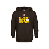 Youth Brown Fleece Hoodie-Bump Set Spike
