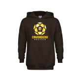 Youth Brown Fleece Hoodie-Soccer Design