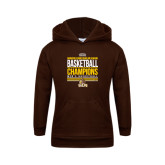 Youth Brown Fleece Hood-2017 Mens Basketball Champions Stacked