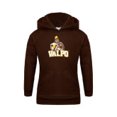 Youth Brown Fleece Hood-Official Logo