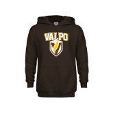 Youth Brown Fleece Hoodie-Stacked Valpo Shield