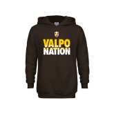 Youth Brown Fleece Hoodie-Valpo Nation