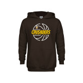 Youth Brown Fleece Hoodie-Basketball Outline Design