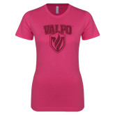 Ladies SoftStyle Junior Fitted Fuchsia Tee-Stacked Valpo Shield Hot Pink Glitter