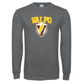 Charcoal Long Sleeve T Shirt-Stacked Valpo Shield