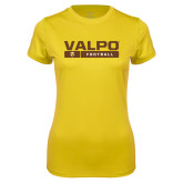 Ladies Syntrel Performance Gold Tee-Football Design