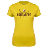 Ladies Syntrel Performance Gold Tee-Football Field Design