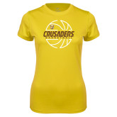 Ladies Syntrel Performance Gold Tee-Basketball Outline Design