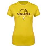 Ladies Syntrel Performance Gold Tee-Stacked Volleyball Design