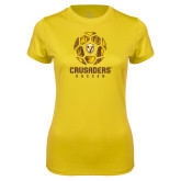 Ladies Syntrel Performance Gold Tee-Soccer Design