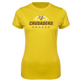 Ladies Syntrel Performance Gold Tee-Stacked Soccer Design