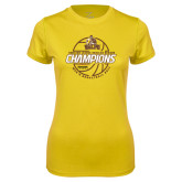 Ladies Syntrel Performance Gold Tee-2017 Mens Basketball Champions Basketball