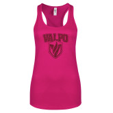 Next Level Ladies Raspberry Ideal Racerback Tank-Stacked Valpo Shield Hot Pink Glitter