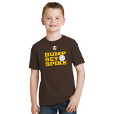 Youth Brown T Shirt-Bump Set Spike