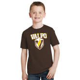 Youth Brown T Shirt-Stacked Valpo Shield