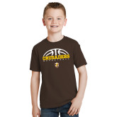 Youth Brown T Shirt-Arched Basketball Design