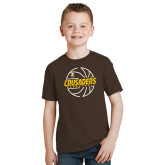Youth Brown T Shirt-Basketball Outline Design