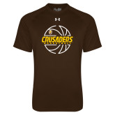 Under Armour Brown Tech Tee-Basketball Outline Design