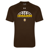 Under Armour Brown Tech Tee-Arched Basketball Design