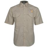 Khaki Short Sleeve Performance Fishing Shirt-Stacked Valpo Shield