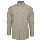 Khaki Long Sleeve Performance Fishing Shirt-Stacked Valpo Shield