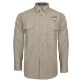 Khaki Long Sleeve Performance Fishing Shirt-Stacked Valpo Shield