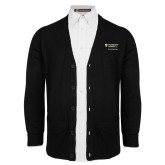 Black V Neck Cardigan w/Pockets-School of Psychology Vertical