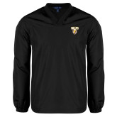 V Neck Black Raglan Windshirt-Stacked Valpo Shield