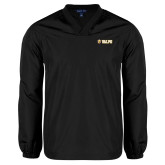 V Neck Black Raglan Windshirt-Flat Valpo Shield