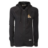 Ladies Under Armour Black Varsity Full Zip Hoodie-Official Logo
