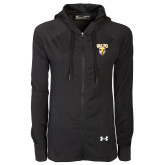 Ladies Under Armour Black Varsity Full Zip Hoodie-Stacked Valpo Shield