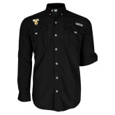 Columbia Bahama II Black Long Sleeve Shirt-Stacked Valpo Shield