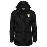 Ladies Black Brushstroke Print Insulated Jacket-Stacked Valpo Shield
