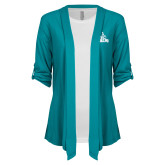 Ladies Teal Drape Front Cardigan-Official Logo