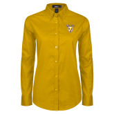 Ladies Gold Twill Button Down Long Sleeve-Stacked Valpo Shield