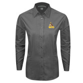 Ladies Grey Tonal Pattern Long Sleeve Shirt-Official Logo