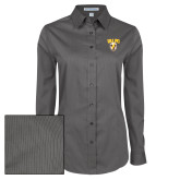 Ladies Grey Tonal Pattern Long Sleeve Shirt-Stacked Valpo Shield