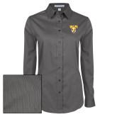 Ladies Grey Tonal Pattern Long Sleeve Shirt-Stacked Valpo Shield